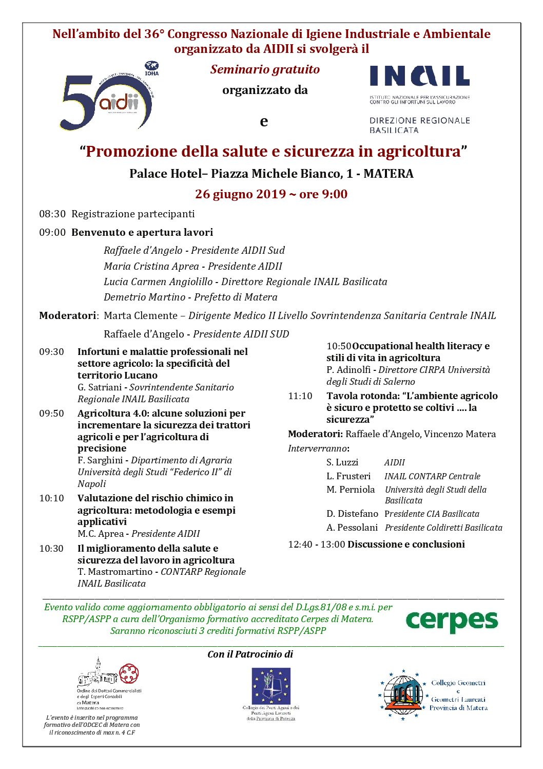 Seminario AIDII-INAIL BasilicataProgramma (Rev 05) Matera 26 Giugno 2019